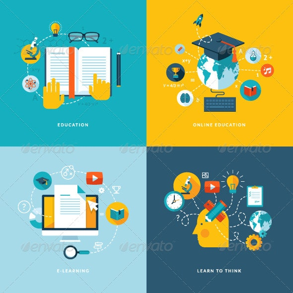Flat Design Concept Icons for Education - Conceptual Vectors