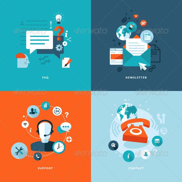 Flat Design Concept Icons for Online Services