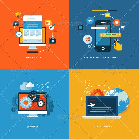 Flat Design Concept Icons for Web Development - Web Technology