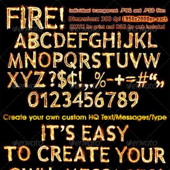 Fire Letters, Numbers, and Symbols