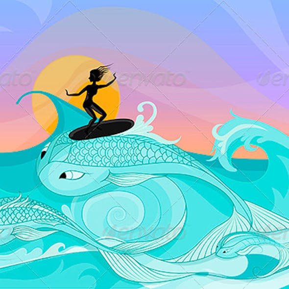 Female Surfer on Ocean Waves Stylized as Big Fish