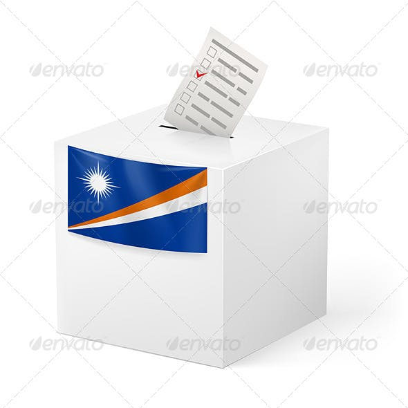 Ballot Box with Voting Paper Marshall Islands