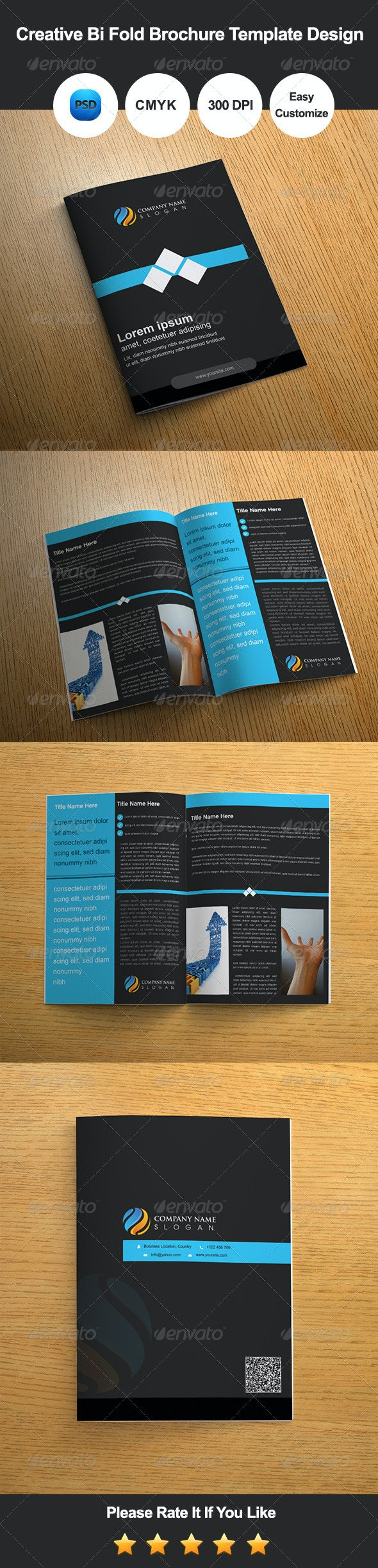 Creative Bi Fold Brochure Template Design - Corporate Brochures