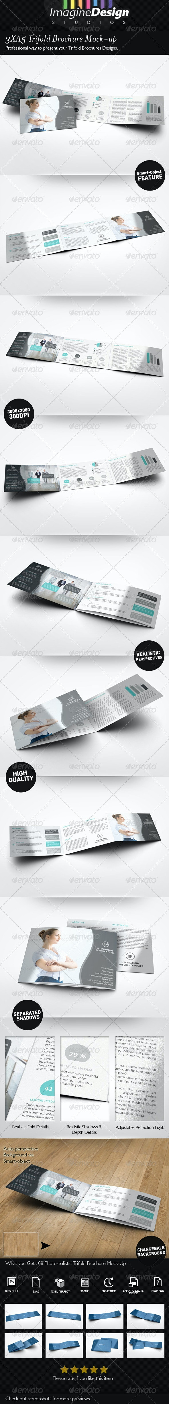 3xA5 Trifold Brochure Mock-up Landscape - Brochures Print
