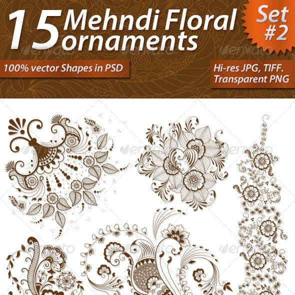 15 Mehndi Floral Ornaments Set#2