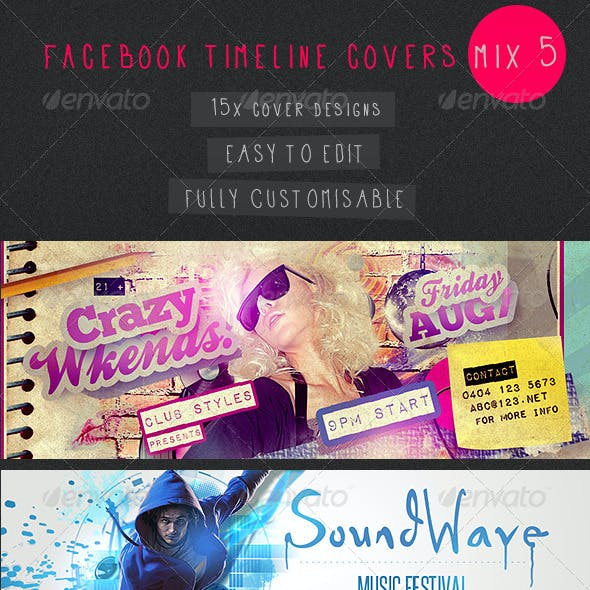 Facebook Timeline Covers Mix 5 - 15 Templates