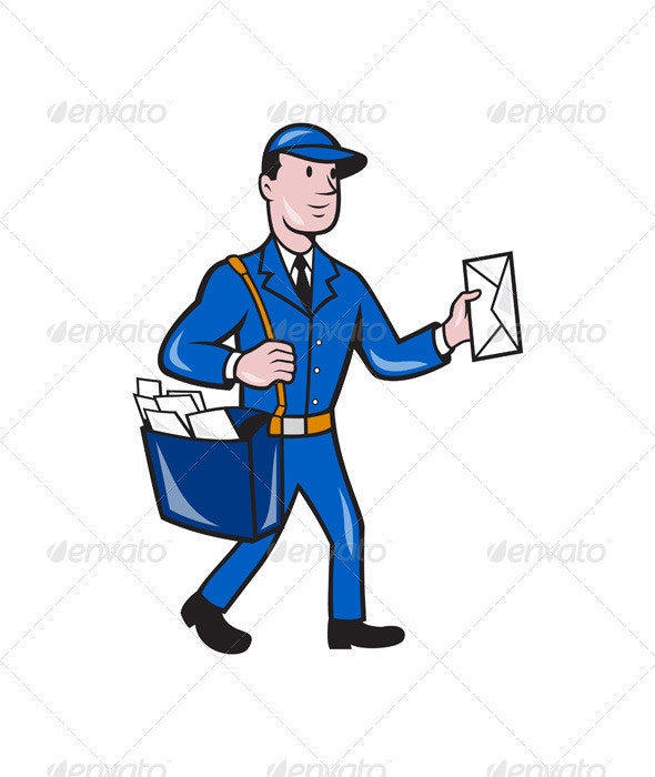 Mailman Postman Delivery Worker Isolated Cartoon By Patrimonio