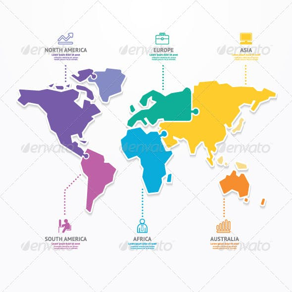 World Map Infographic Template Jigsaw Concept