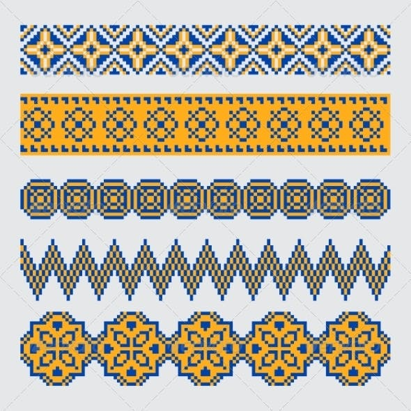 Set of Pixel Ethnic Seamless Border Ornament