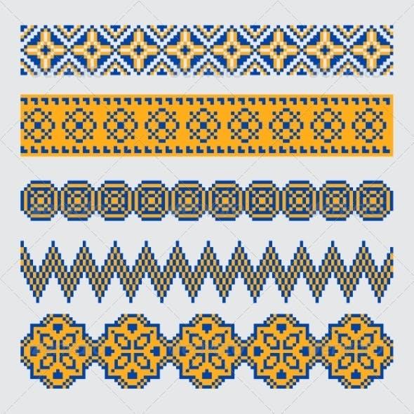 Set of Pixel Ethnic Seamless Border Ornament
