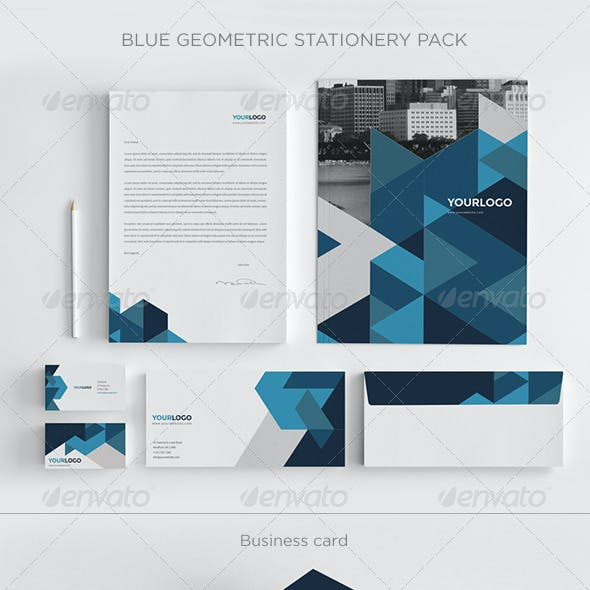Blue Geometric Stationery Pack
