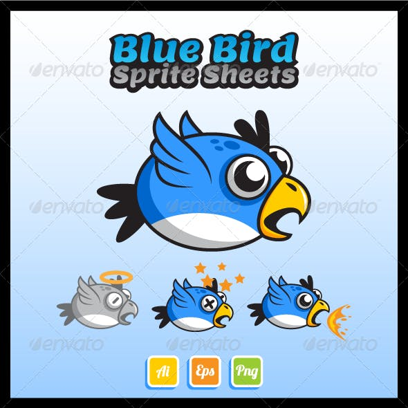 Flying Blue Bird Sprite Sheet