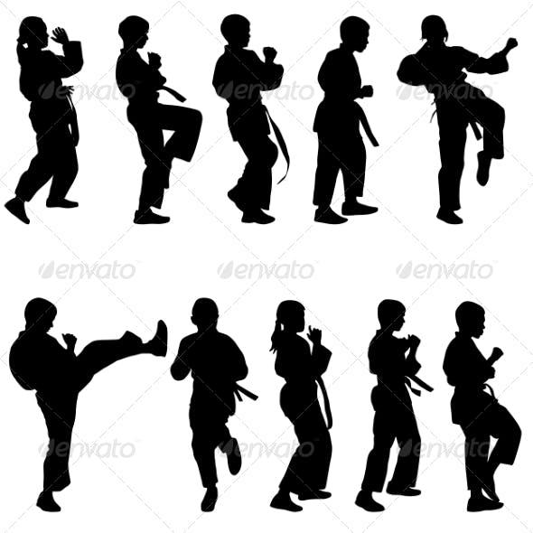 Set of Black Silhouettes of Karate. Sport vectors