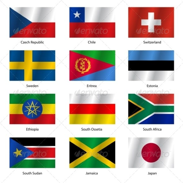 Set  Flags of World Sovereign States - Vector