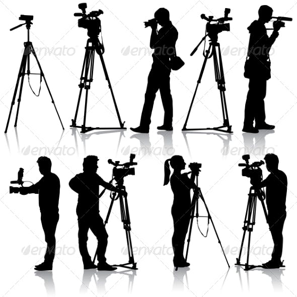 Cameraman with video camera. Silhouettes on white
