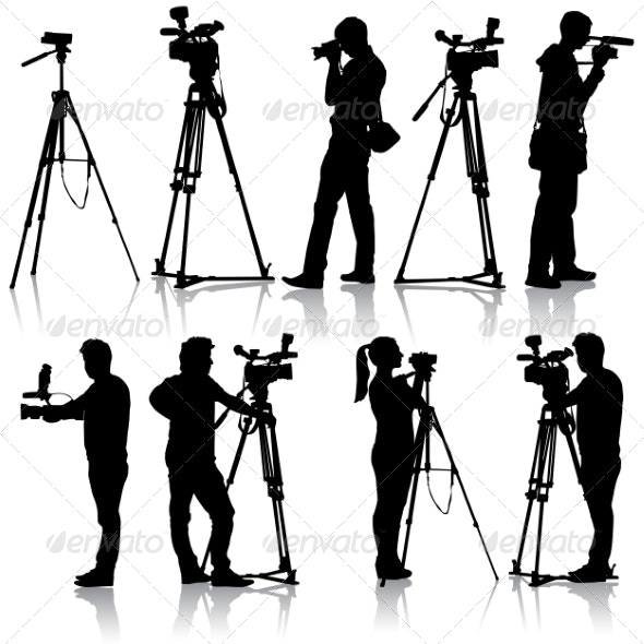 Cameraman with video camera. Silhouettes on white  - People Characters