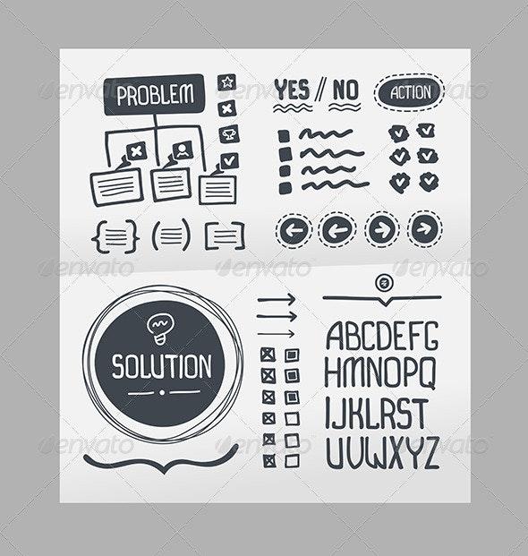Action Plan - Hand Drawn Elements Template - Decorative Vectors