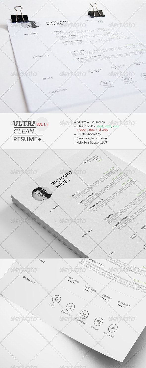 Ultra Clean Resume - Resumes Stationery