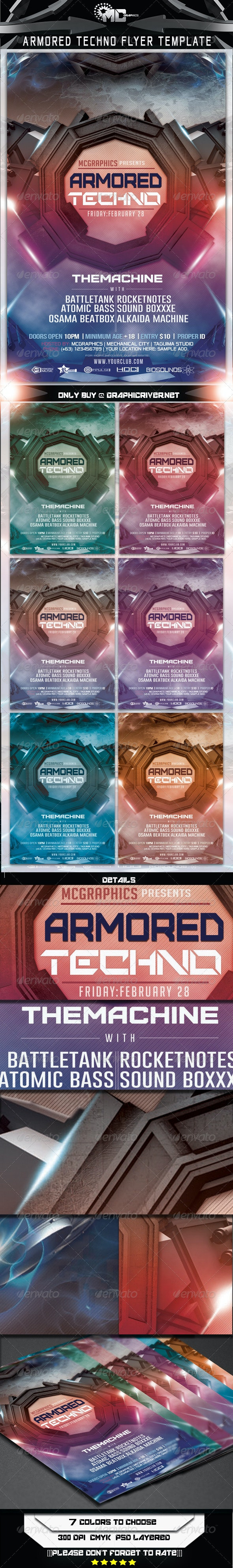 Armored Techno Flyer Template - Flyers Print Templates
