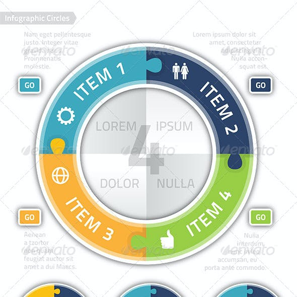 Modern Puzzle Technology Circle Chart Infographics
