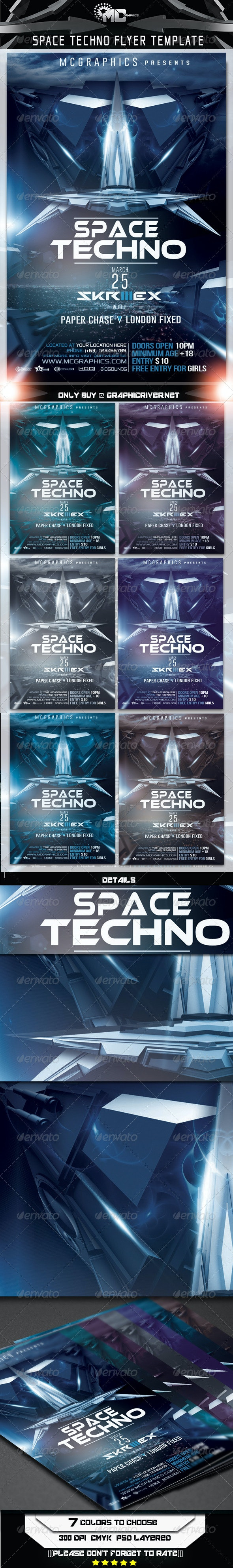 Space Techno Flyer  Template - Flyers Print Templates