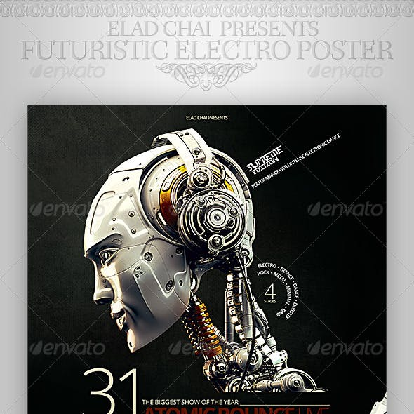 Futuristic Electro Typography Flyer Poster