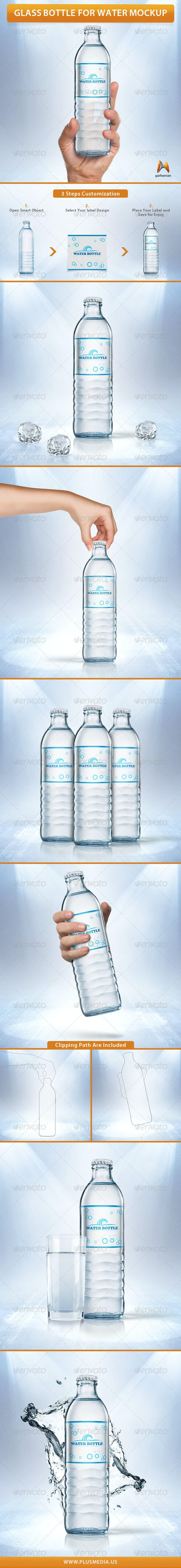 Glass Bottle for Water Mockup - Product Mock-Ups Graphics