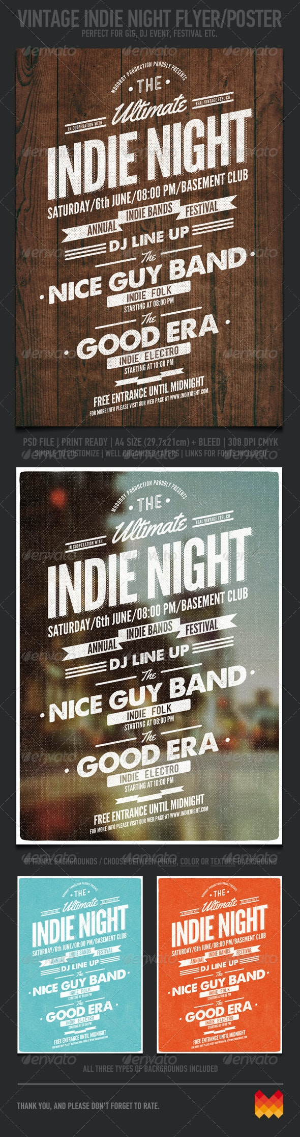 Vintage Indie Night Flyer/Poster - Events Flyers