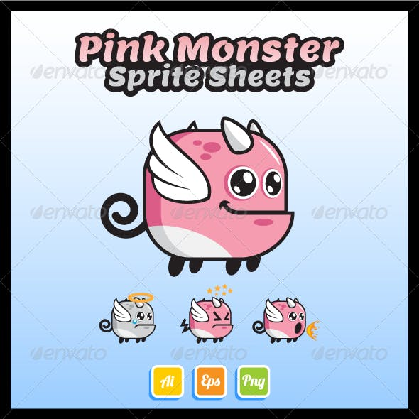 Pink Monster Sprite Sheet