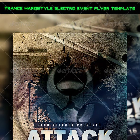 Trance Hardstyle Electro Event Flyer Template