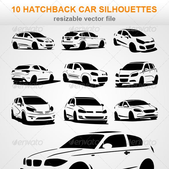 10 Hatchback Car Silhouettes
