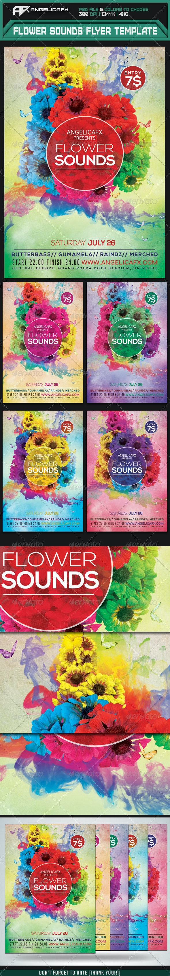 Flower Sounds Flyer Template - Flyers Print Templates