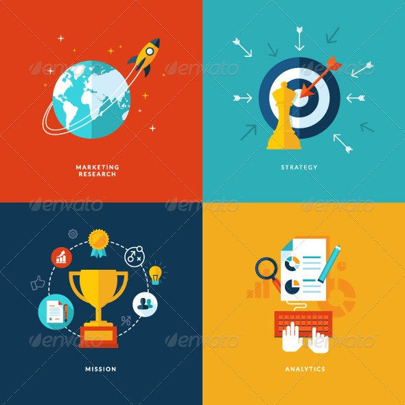 Flat Design Concept Icons for Business - Concepts Business