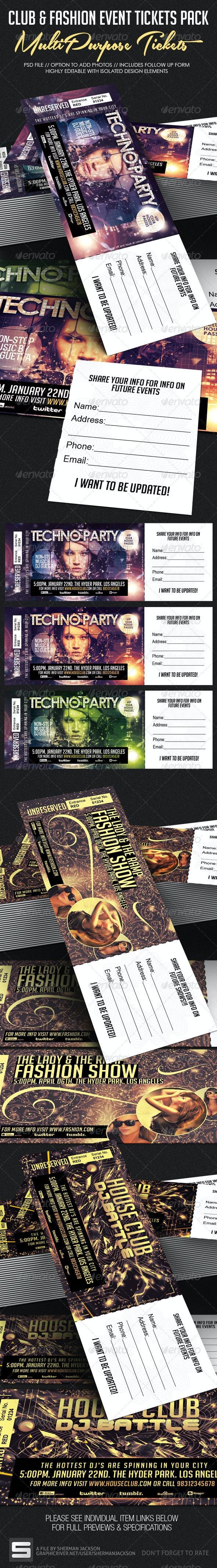 Club, Fashion & Event Tickets Bundle Pack - Miscellaneous Print Templates