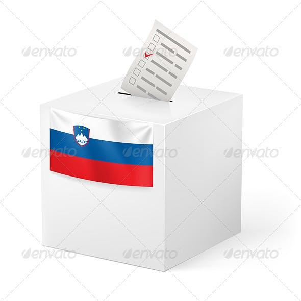 Ballot Box with Voting Paper Slovenia