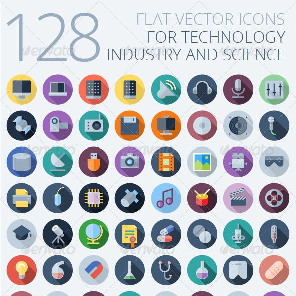 Flat Vector Icons for Technology
