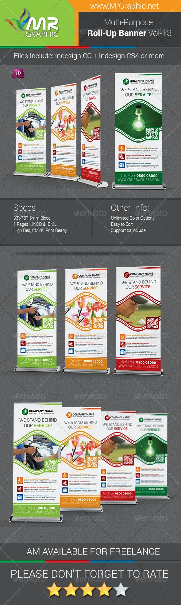 Multi-Purpose Business Roll-Up Banner Vol-13 - Signage Print Templates
