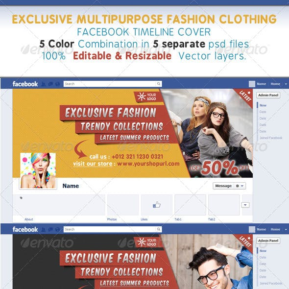 Glamour & Fashion Clothing Facebook Timeline Cover