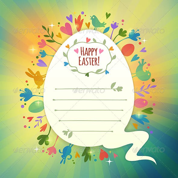 Retro Easter Card with Symbols of Spring