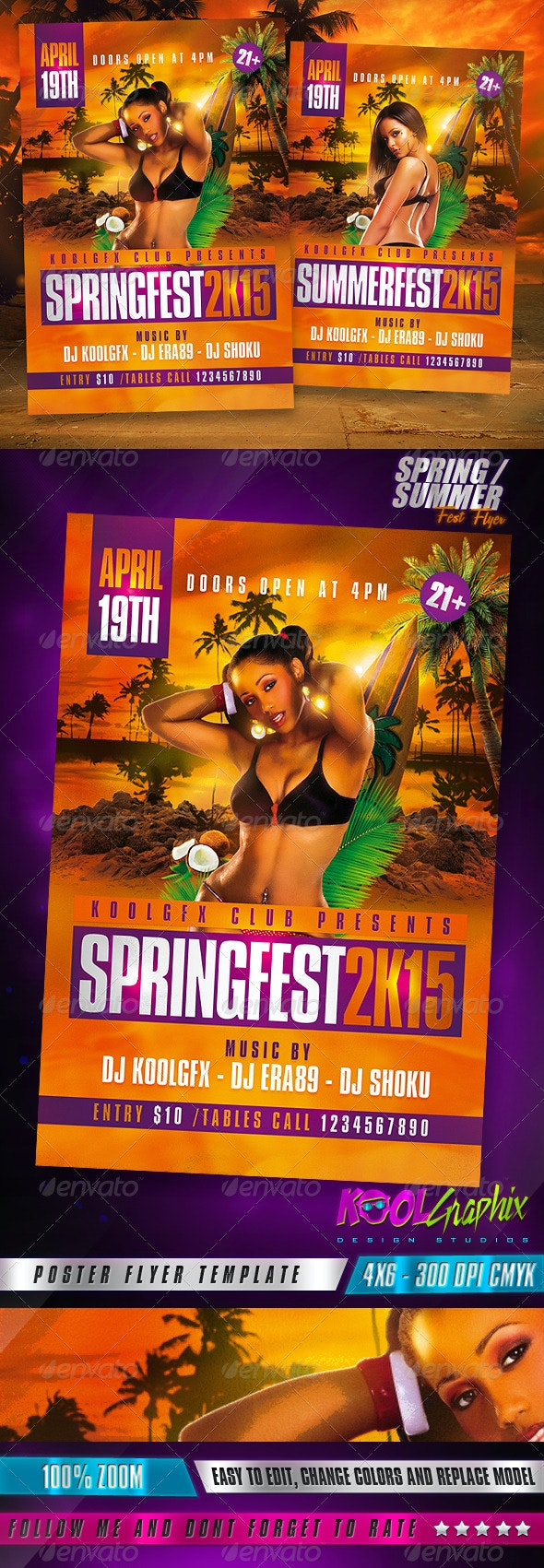 Spring / Summer Fest Party Flyer - Flyers Print Templates