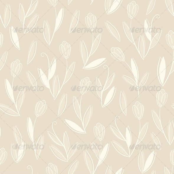 White Floral on Beige Pattern