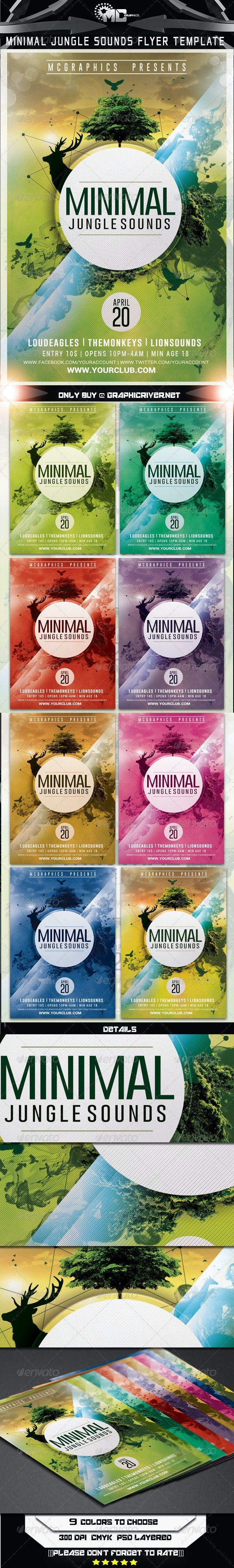 Minimal Jungle Sounds Flyer Template - Flyers Print Templates