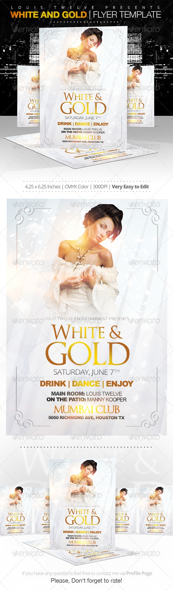 White and Gold Party Flyer Template - Clubs & Parties Events