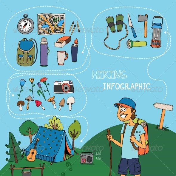 Hiking Infographic Elements