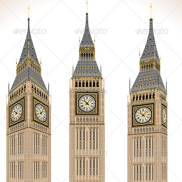Big Ben Tower Isolated on White