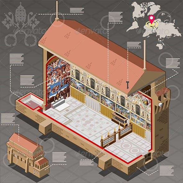 Isometric Infographic of Sistina Chapel in Vatican