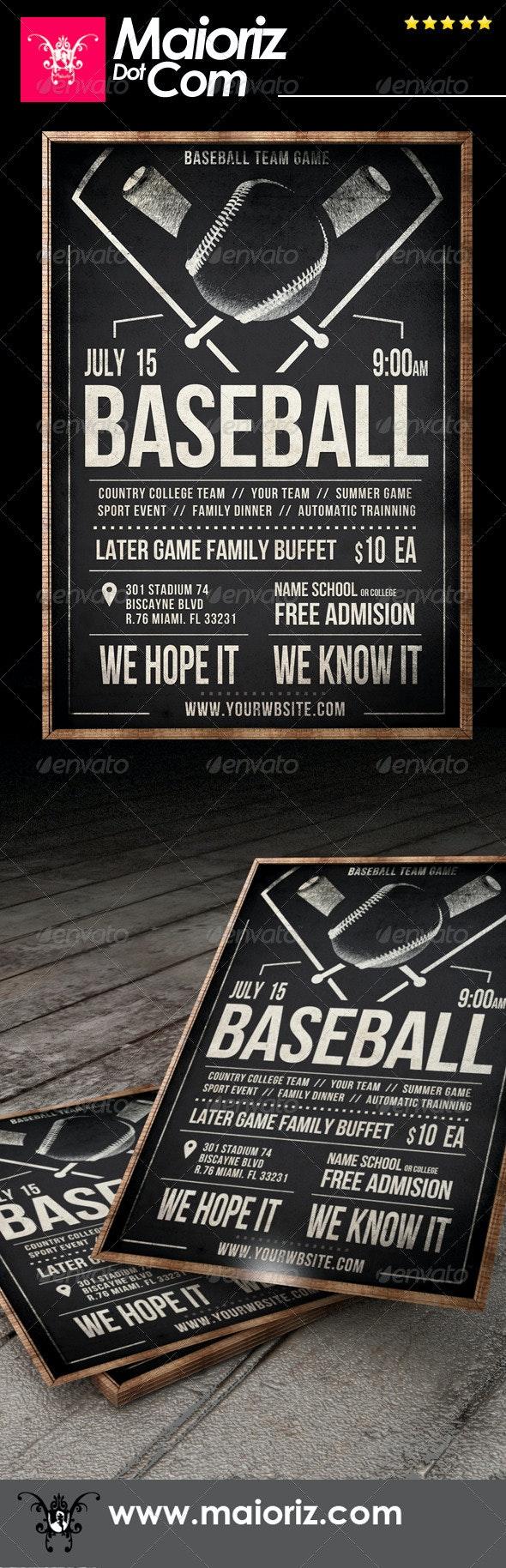 Vintage Baseball Flyer - Sports Events