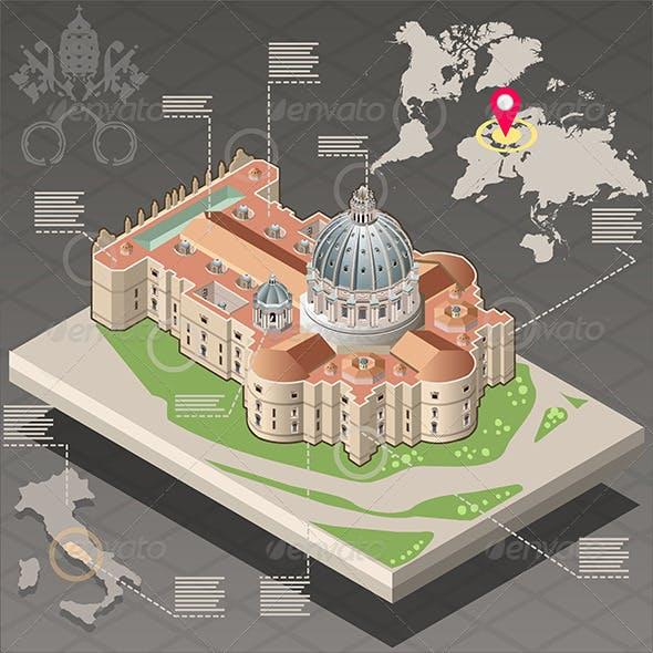 Isometric Infographic of Saint Peter in Vatican