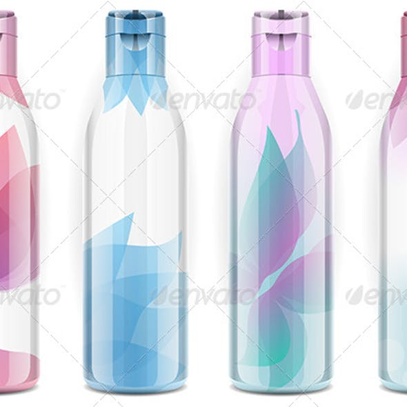 Four Plastic Bottles with Candid Colors