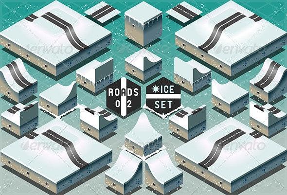 Isometric Roads on Two Levels Frozen Terrain - Buildings Objects